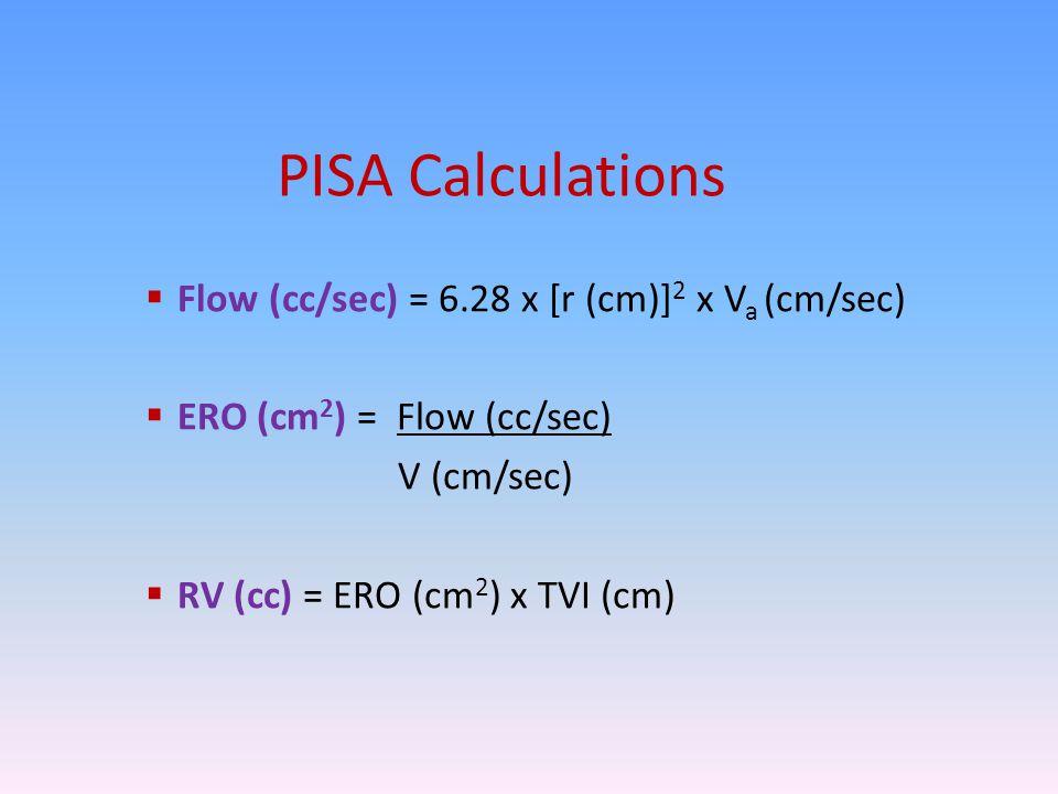 PISA Calculations Flow (cc/sec) = 6.28 x [r (cm)]2 x Va (cm/sec)